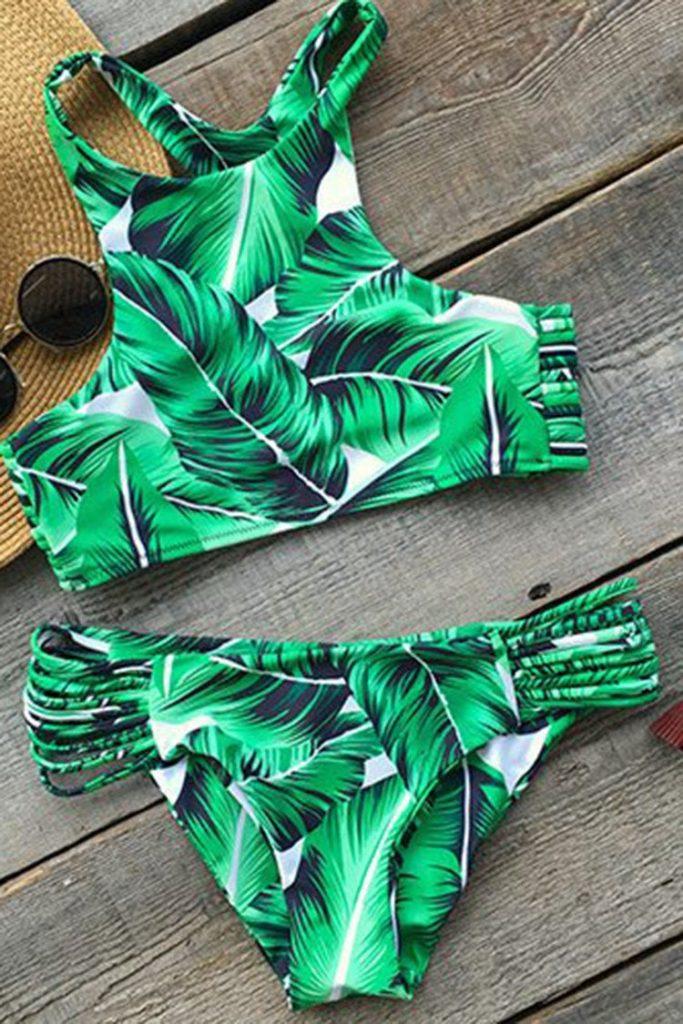 Tropical leaves tank bikini