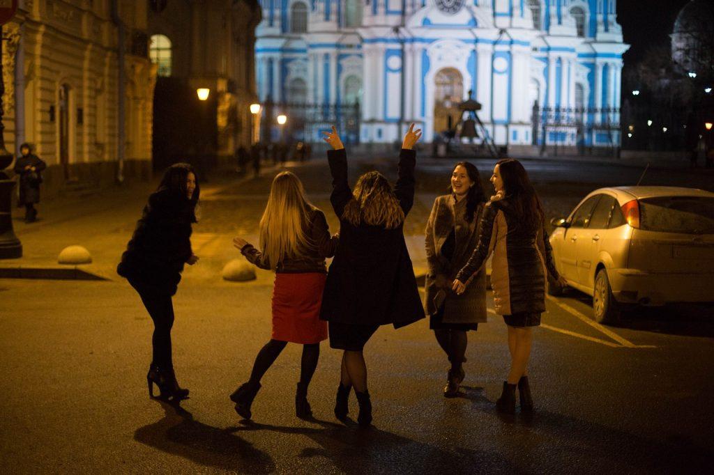 ladies enjoying night life