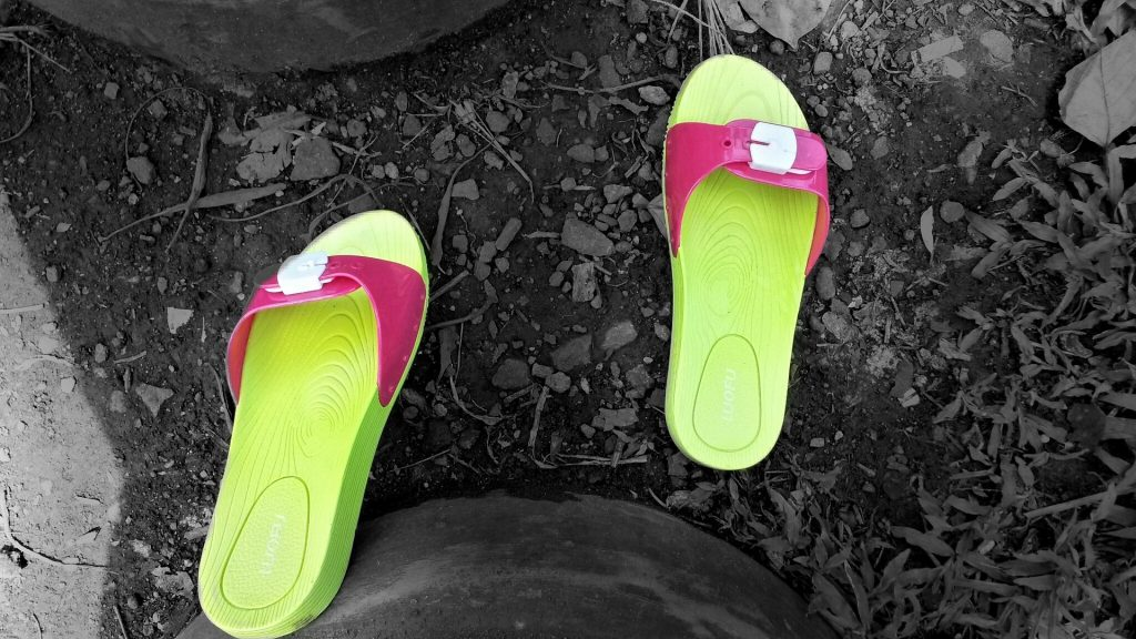 Slide sandals with a dress