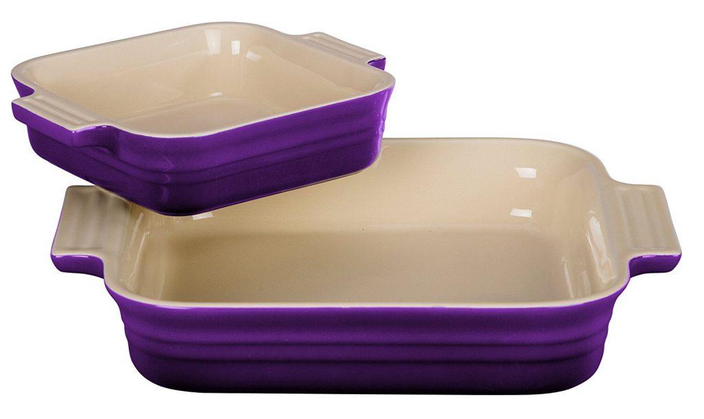 Le Creuset 2 Piece Cassis Stoneware Square Casserole Dish Set